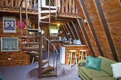 Ideas for A-Frame interior... like the stairs & kitchen