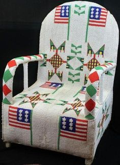 Fully beaded chair ,,I think diane would have loved to attempt something like this if she were able and had not been given the path god chose her to lead Native Beadwork, Native American Beadwork, Native American Indians, Loom Beading, Beading Patterns, Bead Sewing, Native Design, Native American Artifacts, Nativity Crafts