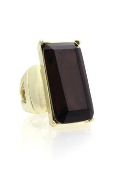 Smoked Bronze Rectangle Stretch Ring