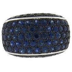 Modern Sapphire Black Diamond Gold Dome Ring
