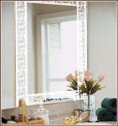 Eden Etched Glass Border around a mirror. So pretty.