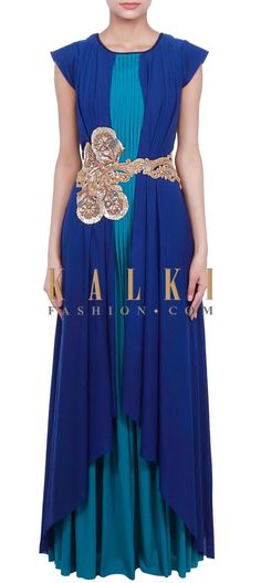 Buy Online from the link below. We ship worldwide (Free Shipping over US$100) http://www.kalkifashion.com/royal-blue-and-teal-gown-adorn-in-pleats-and-zardosi-embroidery-only-on-kalki.html