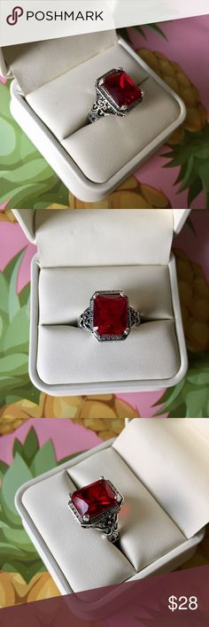Vintage Red Garnet Ring 925 Silver Unique vintage style cocktail ring featuring large rectangle cut garnet and a 925 stamped sterling silver band with beautiful details. Women's size 7. See my other listings and ask about bundle discounts. All jewelry comes with gift packaging. Jewelry Rings