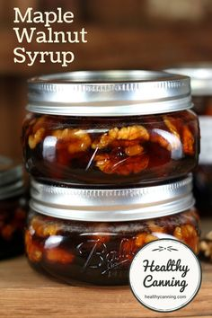 Maple Walnut Syrup. This Maple Walnut Syrup is a delicious, classic syrup. It's not cheap to make, but it really makes a wonderful gift. #canning