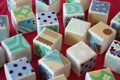 Paint or collage a set of wooden blocks