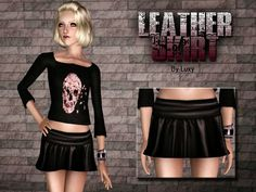 Skull crop top and leather skirt by Luxy Sims 3 Downloads CC Caboodle