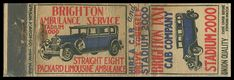1920's Brighton Taxi & Brighton Ambulance Union Quality Matchbook Cover | Brighton, MA | Straight Eight Packard Limousine
