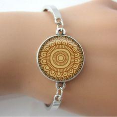 Mandala Bangle Bracelet Silver Plated - Brown Pattern