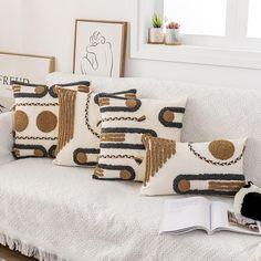 Loop Cushion Cover, Coffee & Beige & Grey, 30x45cm, 45x45cm