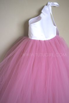 Dusty Rose and White - Rose Quartz Tutu Dress for Flower Girls.  #tutudress #rosequartz