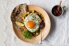 An Indian-inspired curry with peanuts and fried eggs, by Anna Jones
