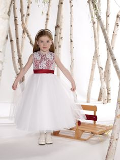 White and red flower girl dress