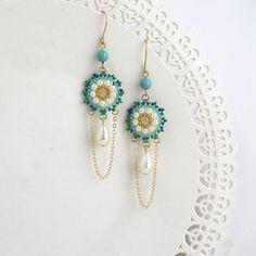 Long chain chandelier earrings, Gold chain earring, Turquoise bridal jewelry, Long earrings, Pearl drop earrings gold, Turquoise and pearl