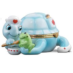 Caring: Heirloom Porcelain Turtle Music Box for Nurses Turtle Day, Turtle Time, Porcelain Doll Costume, Christmas Gifts For Nurses, Porcelain Dolls Value, Flea Market Decorating, Tortoise Turtle, Turtle Pattern, Small Jewelry Box