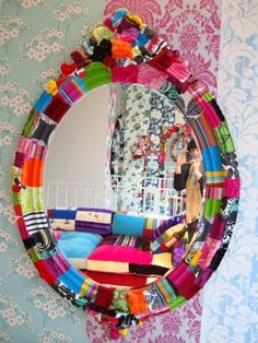 inspiration mirror - replicate look by decoupaging with scraps