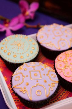 Colorful Bollywood Gold Accented Cupcakes