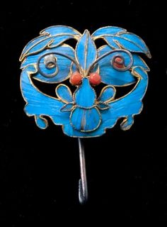 19th CENTURY CHINESE TIAN-TSUI KINGFISHER WING BAT HAIR PIN - C.1880, sold for $89.89