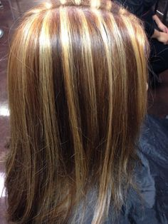 Chunky thick streaks of blonde caramel highlights brown lowlights 90s block highlights pmusecretfo Image collections