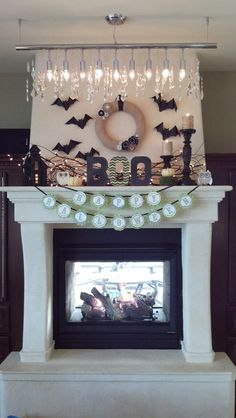 darling Halloween mantle with free Spooky Forest printables from Anders Ruff
