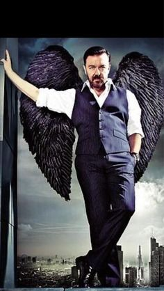 Ricky Gervais, my favorite comedian.. Brilliant, hilarious, audacious. Just hearing his laugh makes me laugh.