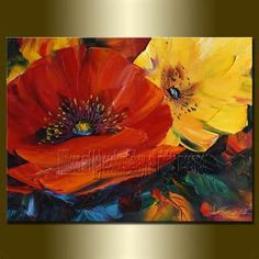 FLORAL OIL PAINTING POPPY POPPIES CONTEMPORARY MODERN ART@@@@@