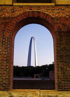 Arch in St. Louis as seen through Eads Bridge