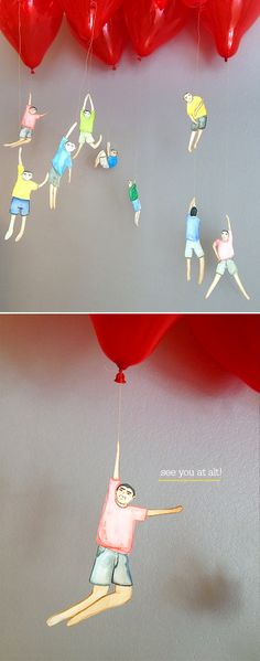 BALLOONS with people/ action movement -- installation idea OR great for an art show display for fun