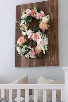 DIY Floral Monogram on Southern Girl City Mom decor diy projects Nursery Themes, Nursery Room, Diy Girl Nursery Decor, Nursery Ideas, Room Baby, Nursery Letters, Nursery Design, Bedroom, Moss Covered Letters