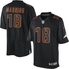 Mens Limited Peyton Manning Jersey Nike Denver Broncos 18 Black Impact NFL Jerseys Prcie:$89.99