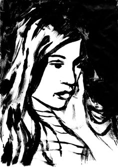#printoctober #thedailysketch Daughter Olivia, pose 1. Monoprint, 15 mins. 21/10/13