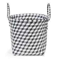 Corbeille avec anses en plastique noire/blanche 31 x 35 cm BLACKSTAGE
