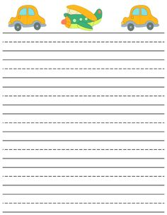printable writting paper  | lined cars and plane writing paper for boys printable writing paper ...