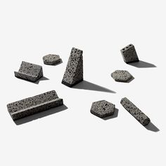 Jeonghwa Seo has designed a collection of desktop accessories made of Jeju Island basalt by local artisans, with shapes referencing the volcanic landscape Basalt Stone, Jeju Island, Desktop Accessories, Pen Holders, Industrial Design, Creative Art, Dezeen, Stationery, Carving