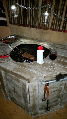 Charcoal braai converted to gas