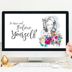 Inspirational quote instant download   laptop background, desktop wallpaper, background, positive thinking   Grab this gorgeous desktop wallpaper here! Backgrounds Girly, Laptop Backgrounds, Baby Deer Nursery, Teen Girl Decor, Flamingo Art, Girly Gifts, Business Planner, Typography Art, Nursery Prints