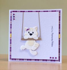 Birthday Card, Handmade - Marianne cat die. For more of my cards please visit CraftyCardStudio on Etsy.com.