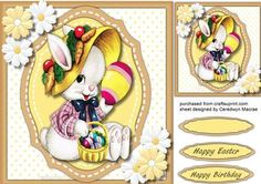 Daisy Rabbit with her easter Eggs  on Craftsuprint designed by Ceredwyn Macrae - A lovely card for Birthday's Or Easter Daisy Rabbit with her Easter Eggs, a lovely card has two greeting tags and a blank one ,  - Now available for download!