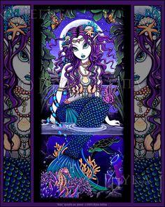 Gothic Mermaid Tropical Turtle Siren Fantasy Uxia Signed Myka Jelina Print V2 | eBay