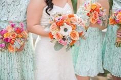 bouquets with a fun, coral palette   Photography by sharonnicolephotography.com    Event Design + Planning by yellowumbrellaevents.com    Floral Design by cherrylanefloral.com   Read more - http://www.stylemepretty.com/2013/07/12/austin-wedding-from-sharon-nicole-photography/