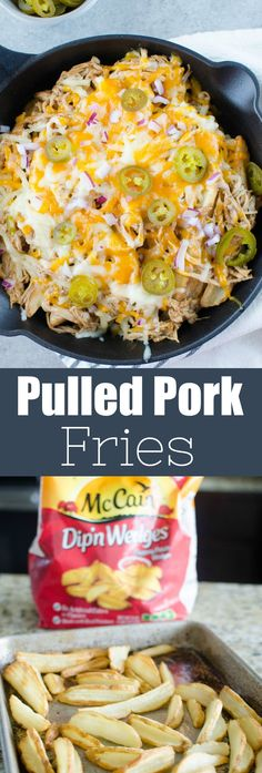 Pulled Pork Fries - crispy fries piled high with barbecue pulled pork, 2 kinds of cheeses, diced red onion, and jalapenos. Perfect for tailgating! Recipes Using Pork, Pork Recipes For Dinner, Easy Appetizer Recipes, Side Dish Recipes, Cooking Recipes, Appetizers, Side Dishes, Yummy Recipes, Tailgating Recipes