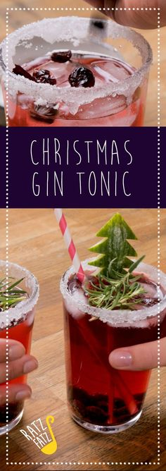 Ratz Fatz: Christmas Gin Tonic- Would you like a fancy gin and tonic recipe? How about a very special Christmas drink toast that also looks adorable Christmas? This Christmas Gin Tonic is both! Winter Drinks, Winter Food, Milk Recipes, Cookie Recipes, Flour Recipes, Toast Noel, Smoothie Recipes, Smoothies, Christmas Gin