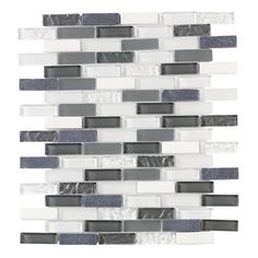 Jeffrey Court - Silver Tradition Mini Brick 12 Inch x 12 Inch Glass/Stone Mosaic Wall Tile (10 Sq.Ft./Case) - 99151-Case - Home Depot Canada...