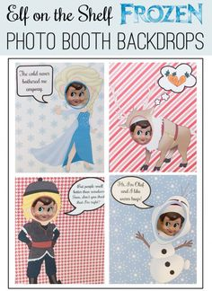 FREE PRINTABLE Elf on the Shelf Frozen Photo Shoot Backdrops. So cute! Print and cut the face out to stage with Elf