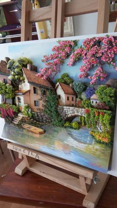 Polymer clay or porcelain that looked like paintings, definitely something to catch my house visitor's eyes. Simply a breathtaking wall art. Polymer Clay Painting, Polymer Clay Kunst, Polymer Clay Projects, Clay Crafts, Diy And Crafts, Sculpture Painting, 3d Painting, Clay Wall Art, Paper Clay Art