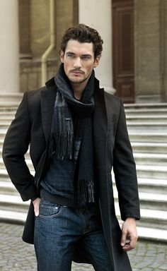 DAVID GANDY...JEANS, RUGGED, SCARF, TOP COAT. WONDER WHAT HIS BABY PICTURES ARE LIKE