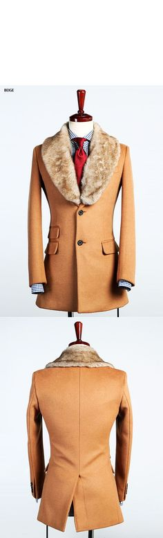 Outerwear :: Coats :: Uber-sleek Rabbit Fur Single Cashmere-Coat 37 - Mens Fashion Clothing For An Attractive Guy Look