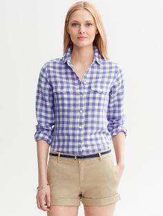 Soft-Wash Gingham Shirt in Granite blue