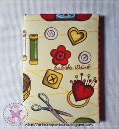 Artesanatos by Fabíola Deiró: Caderno decorado com tecido