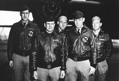 Posing in front of a bomber is Crew No. 1 of the Doolittle Raid against Tokyo, from the 34th Bombardment Squadron, Lt. Col. James H. Doolittle, pilot (2nd from left); Lt. Richard E. Cole, co-pilot; Lt. Henry A. Potter, navigator; SSgt. Fred A. Braemer, bombardier; SSgt. Paul J. Leonard, flight engineer/gunner.