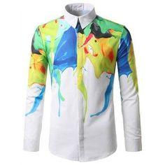 87722c4cbbd2 2017 Brand New Shirt Men Slim Fit Long Sleeve Mens Dress Shirts Fashion  Urban Splash Ink Printed Camisas Casual Chemise Homme